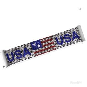 Multi Color Austrian Crystal USA Flag Bracelet